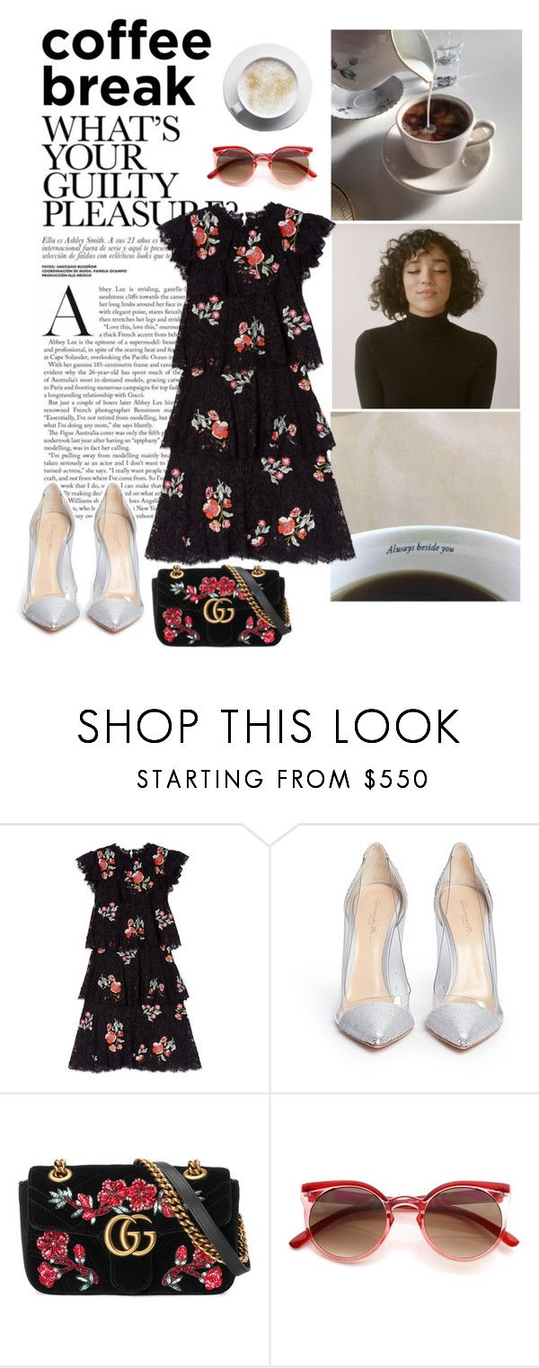 """How do I look on my coffee break"" by kingaflp ❤ liked on Polyvore featuring Gianvito Rossi and Gucci"