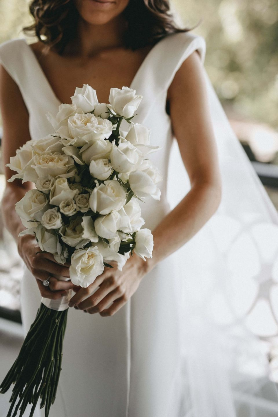 Simple But Classic Long Stem White Rose Bouquet With Satin Ribbon