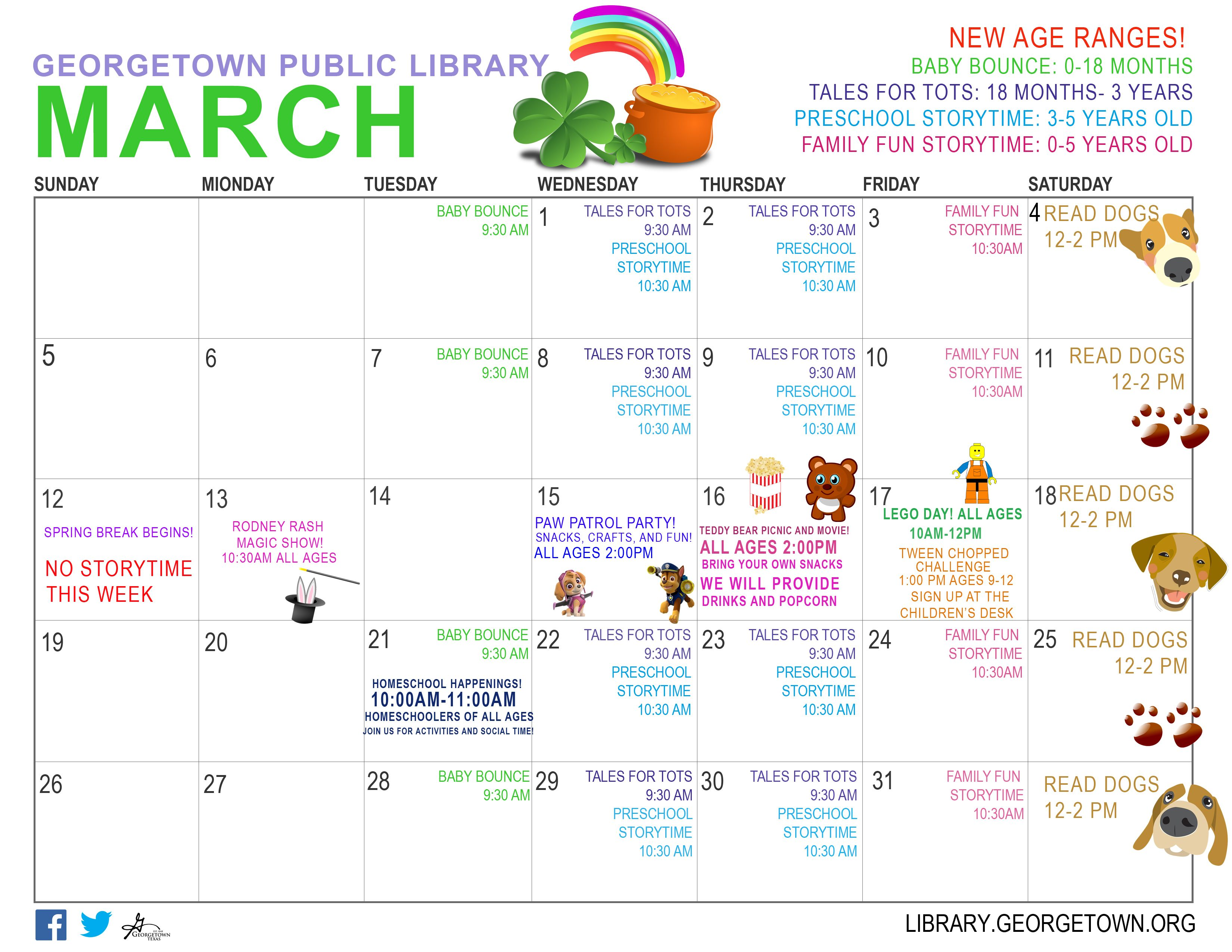Kids Calendar of Events for March 2017 Geor own Public Library