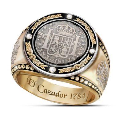Mens Diamond Ring With El Cazador Shipwreck Coin Silver