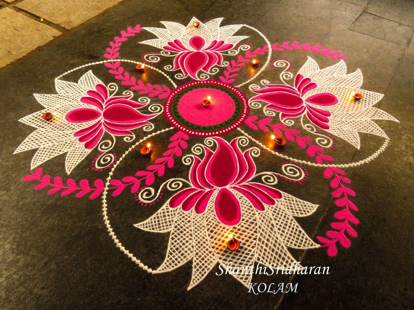 pink kolam … Rangoli designs diwali, Rangoli designs