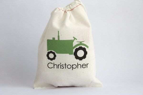 Tractor Personalized Favor Bag. $3.00, via Etsy.