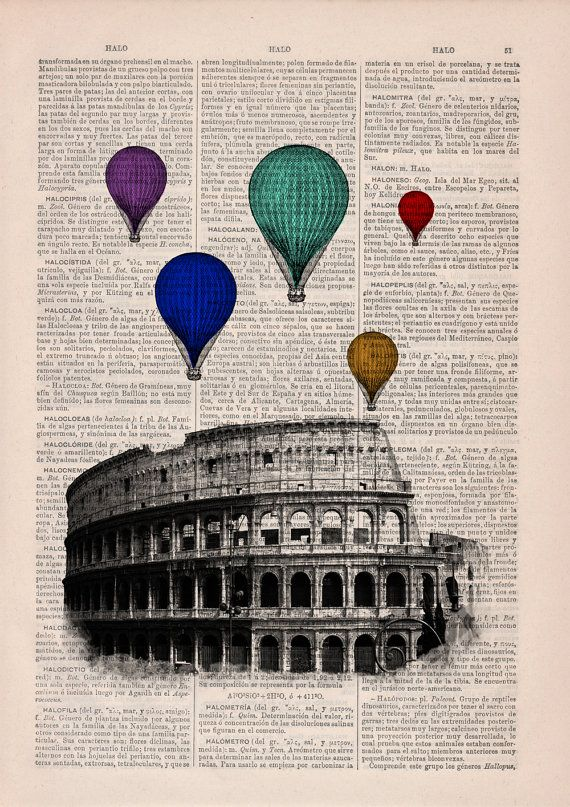 Multicolored balloons over Rome .Vintage Book Print by PRRINT