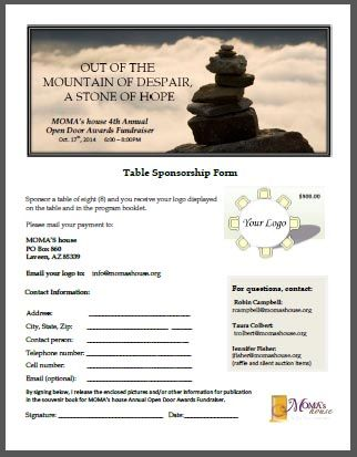 Open Door Awards  Table Sponsorship Form  Graphic Ideas For