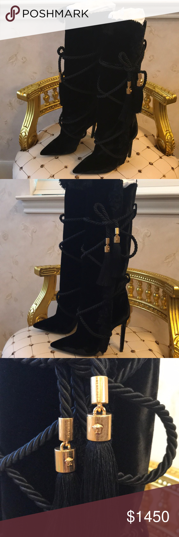 53a30aa46ca Versace Pillow Talk Black Velvet Boots NWT AUTHENTIC Italian decadence at  it finest