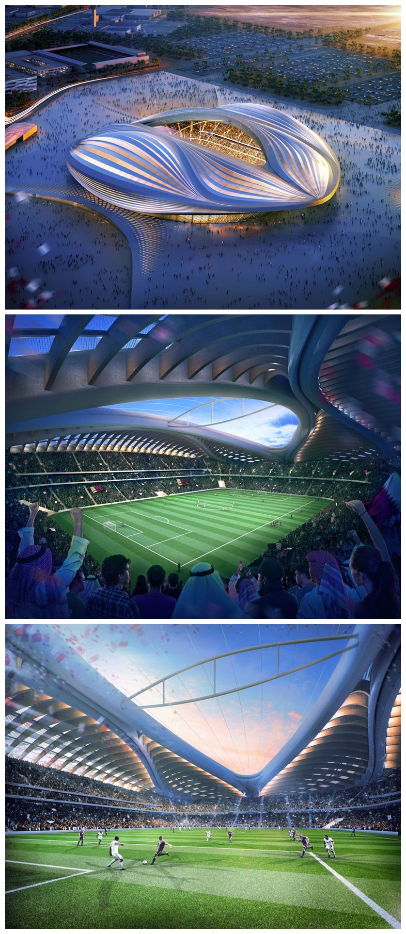 Zaha Hadid Discloses Qatar 2022 Fifa World Cup Stadium Design Stadium Architecture Zaha Hadid Stadium Design