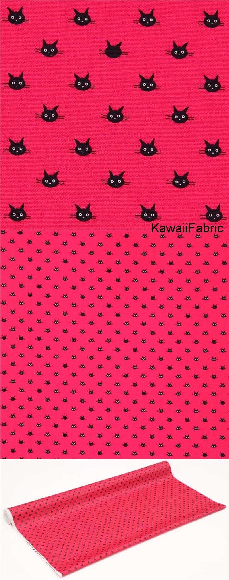 Magenta With Small Black Cat Face Laminate Fabric From Japan | (En