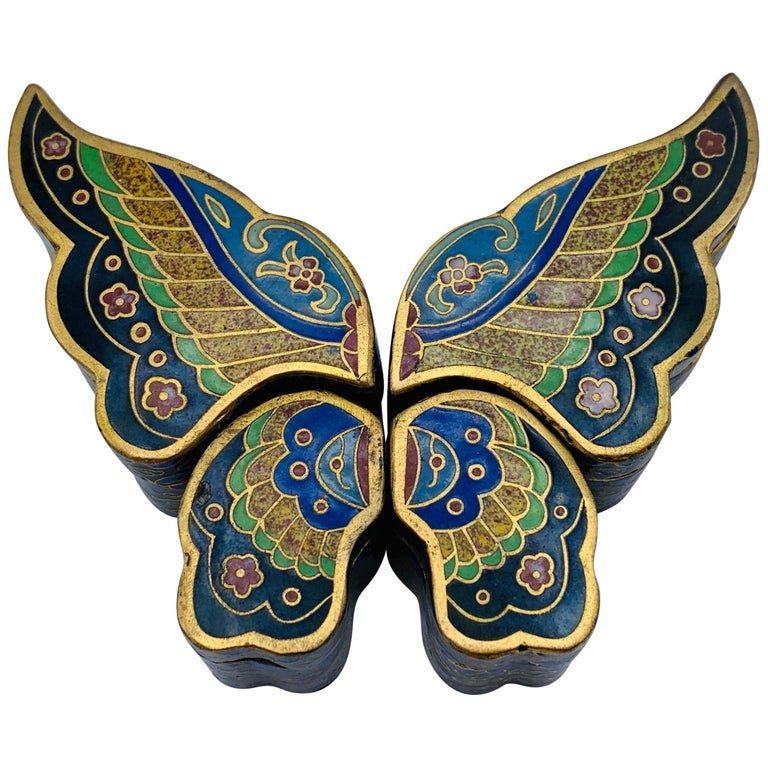 1stdibs Animal Sculpture 1960s Cloisonne Butterfly Box