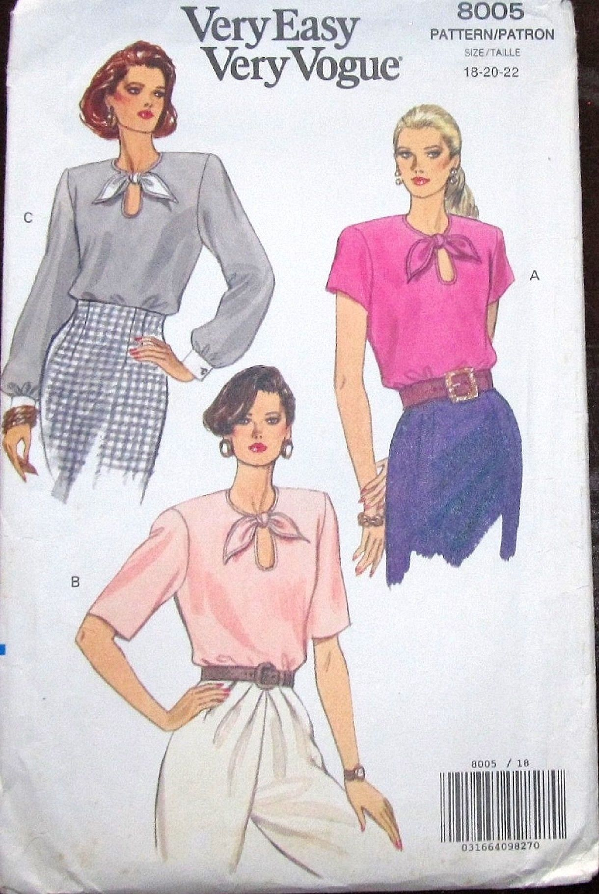 Vintage very easy vogue sewing pattern 8005 pullover tie neckline vintage very easy vogue sewing pattern 8005 pullover tie neckline blouse top womens misses ccuart Image collections