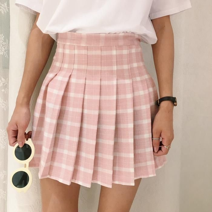 cd07a4789 Plaid Pink High Waist Skirt - Online Aesthetic - Tumblr Kawaii Aesthetic  Shop Fashion