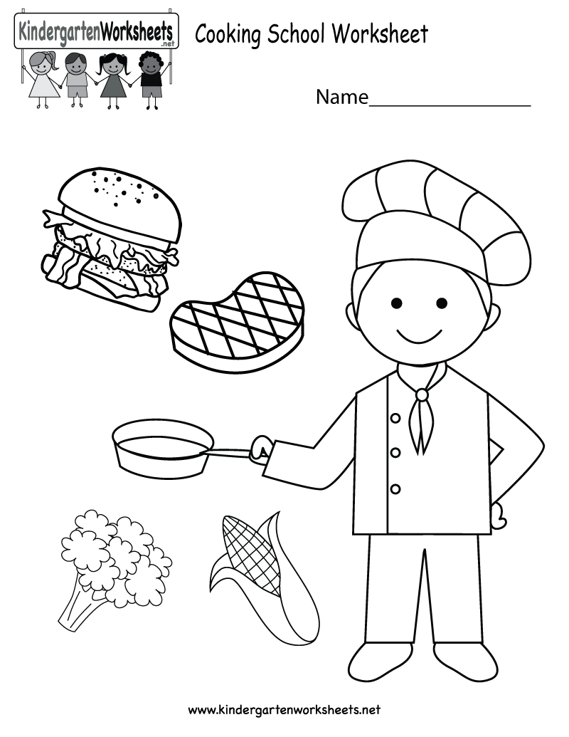 This is a cooking school coloring worksheet. It can also