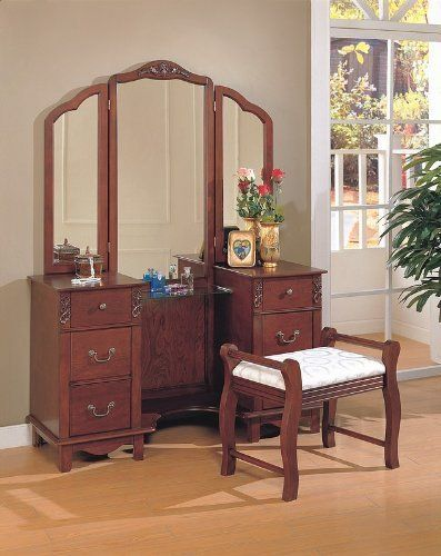 Superior Cherry Brown Finish Wood Large Dressing Makeup Bedroom Vanity Set By  Coaster Home Furnishings, Http://www.amazon.com/dp/B0014B4AWI/refu003d ...