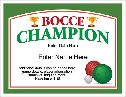Bocce champion certificate template who is the neighborhood bocce champion certificate one hand for the glass one for the bocce ball and one for the award certificate yadclub Gallery