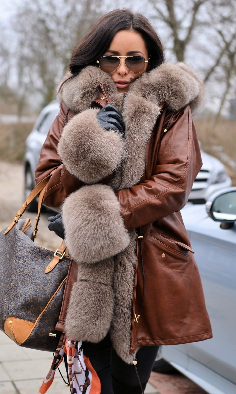 2018 leather parka coat hood fox fur class russian sable