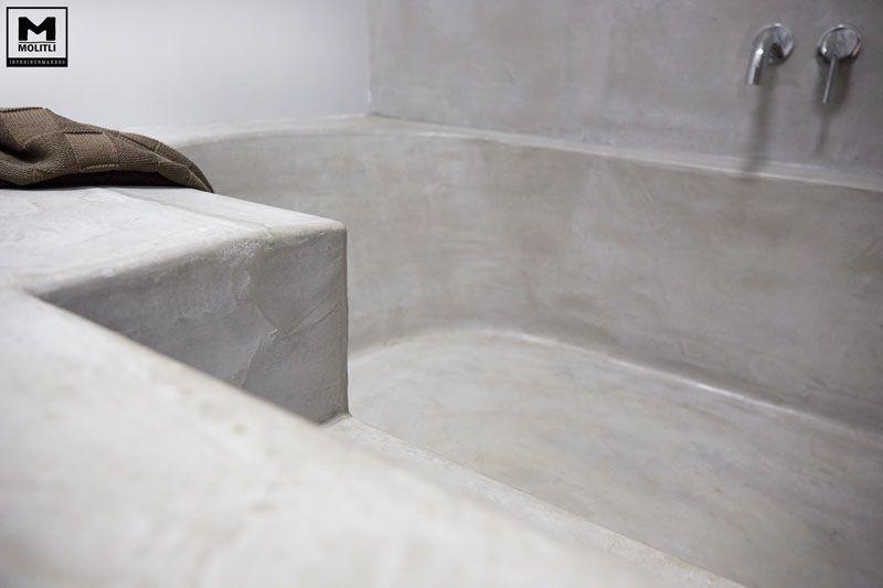 Betonstuc badkamer met verzonken bad the gray house bathroom