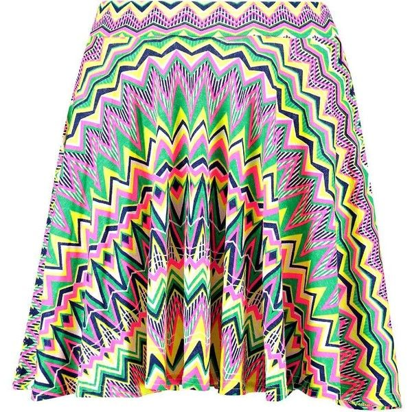 Boohoo Kenzy Neon Aztec Skater Skirt ($10) ❤ liked on Polyvore