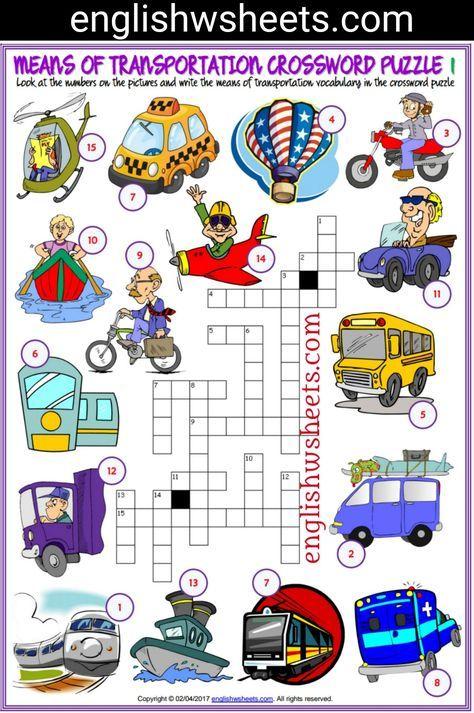 means of transportation esl printable crossword puzzle worksheets for kids means. Black Bedroom Furniture Sets. Home Design Ideas