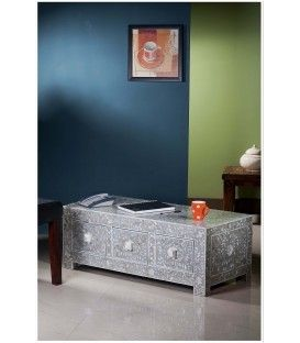 Grey Mother of Pearl Inlay Three Drawer Coffee Table £699