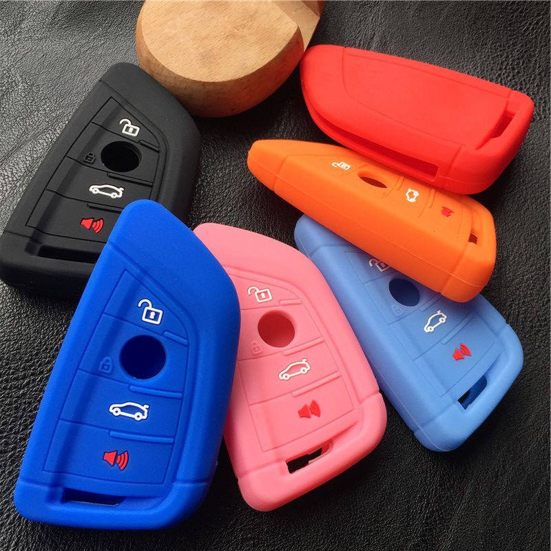 silicone rubber car key fob cover case wallet bag holder