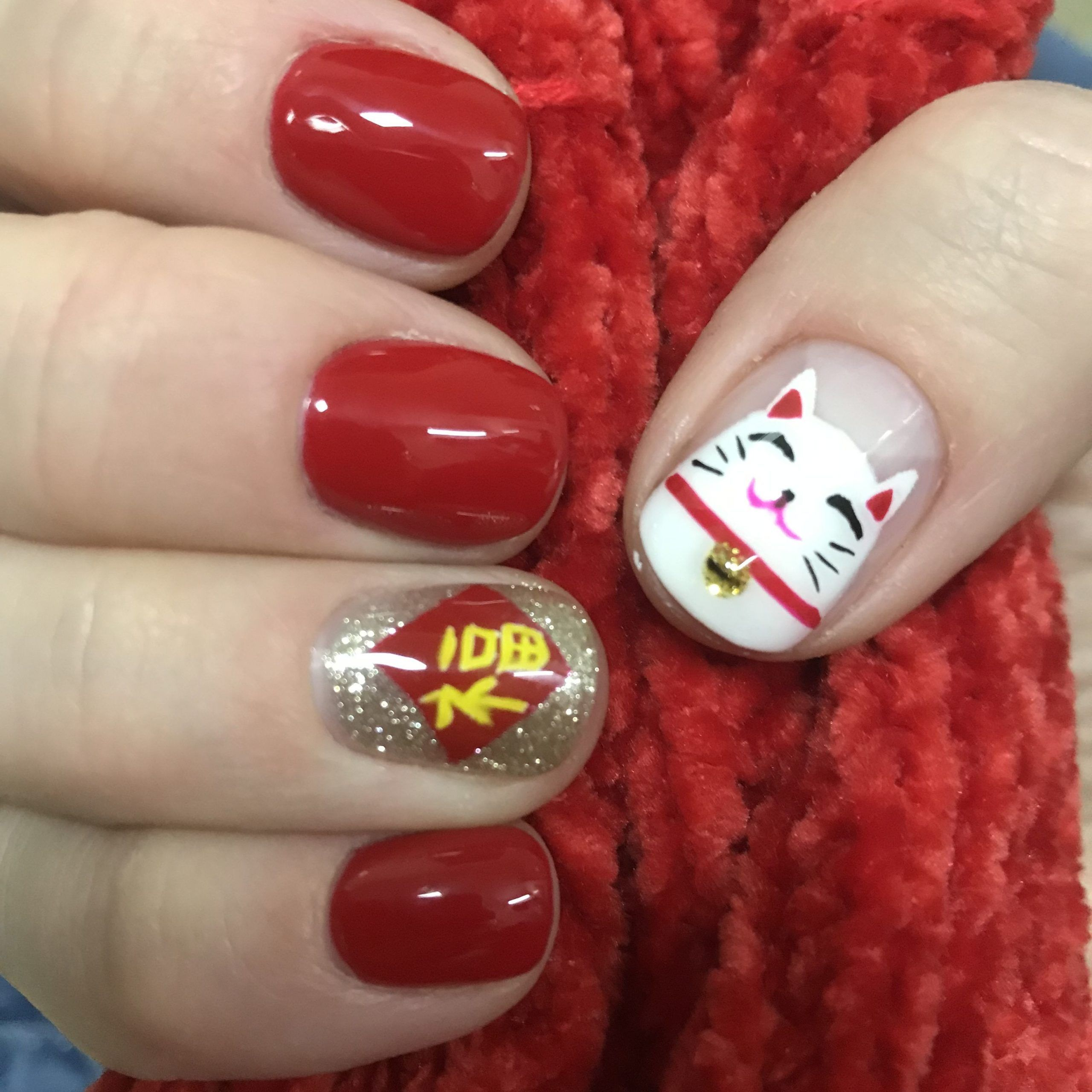 Chinese New Year nails red fortune cat b… cat Chinese