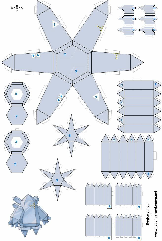 Easy Pokemon Papercraft | Regice(colored) - /po/ Archives | Home ...