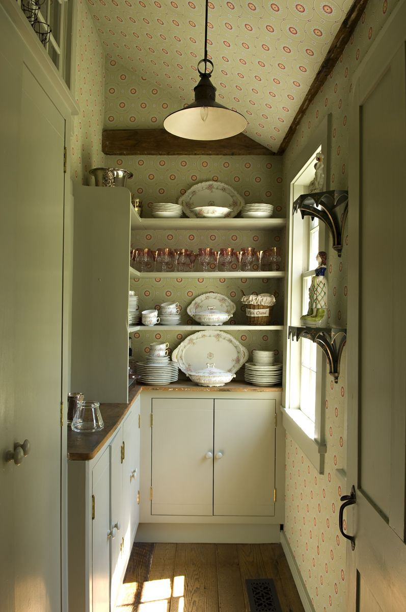 Pale green pantry with floral/sunburst/dot wallpaper | Cathy Kincaid Interiors