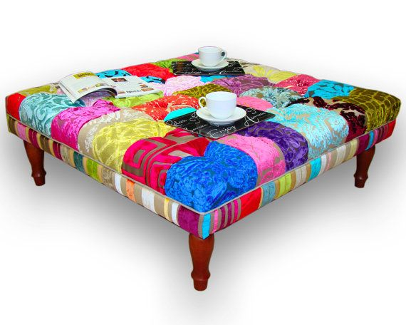 Large Patchwork Footstool Coffee Table In By Justinadesign
