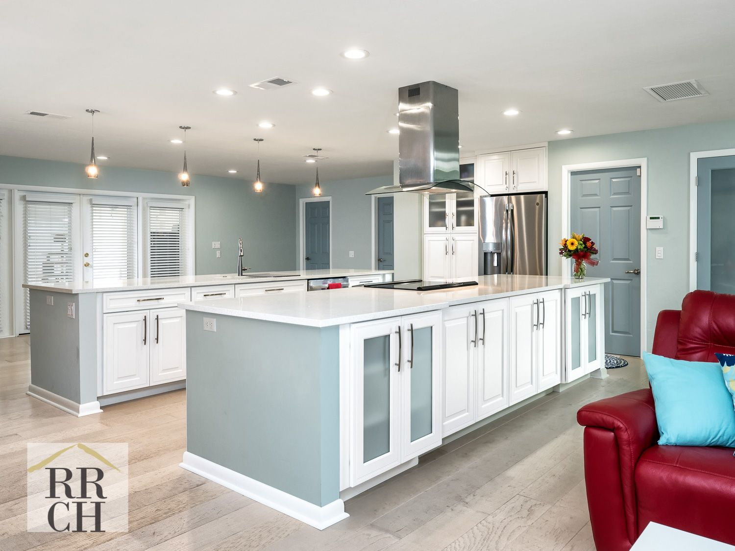 open kitchen with 2 islands view 1 of 3- stainless steel appliances