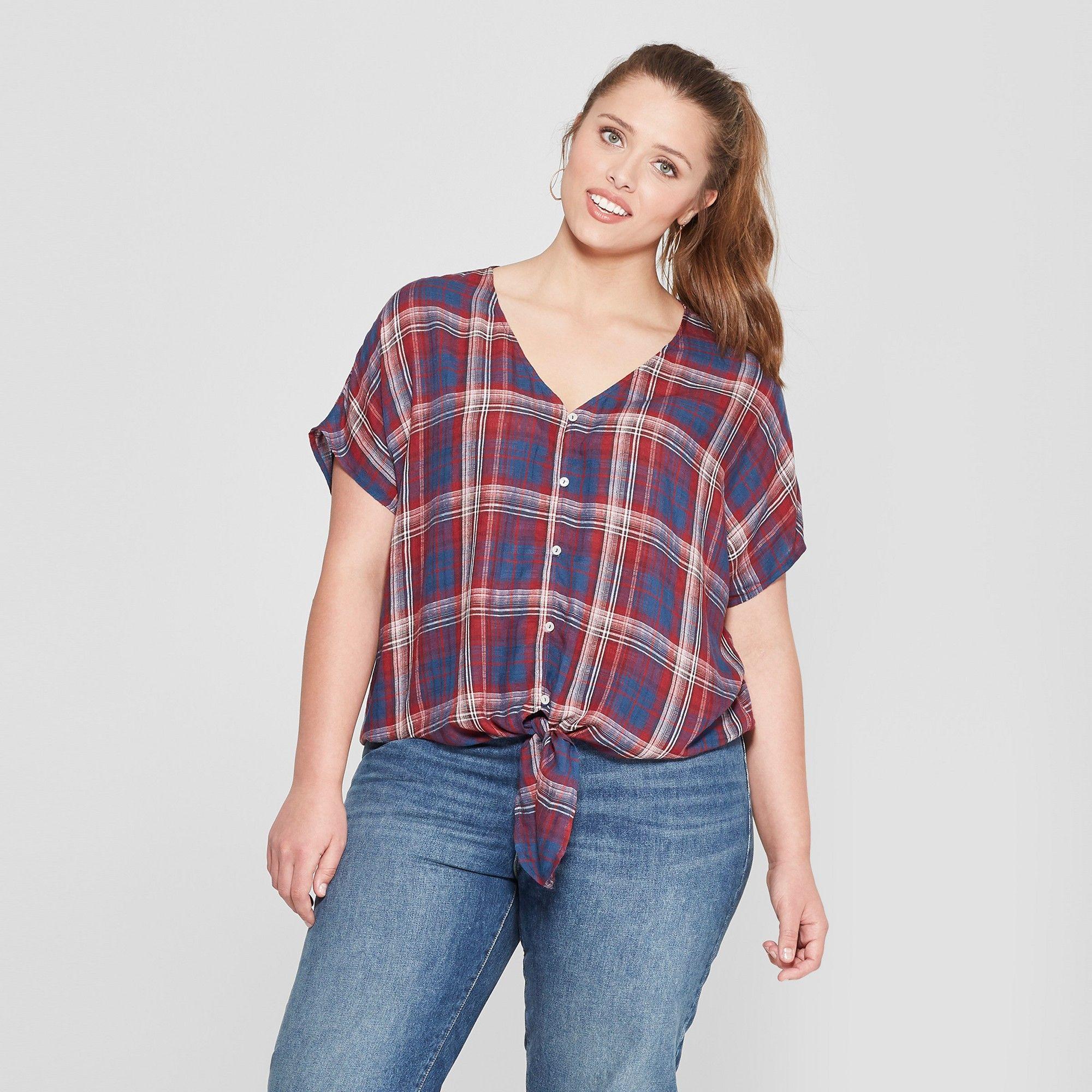 c34a2de55d8ccc Women's Plus Size Plaid Tie Front Short Sleeve Top - Universal Thread  Blue/Red 1X