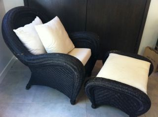 Pottery Barn Black Wicker Malabar Chair And Ottoman With Cushions