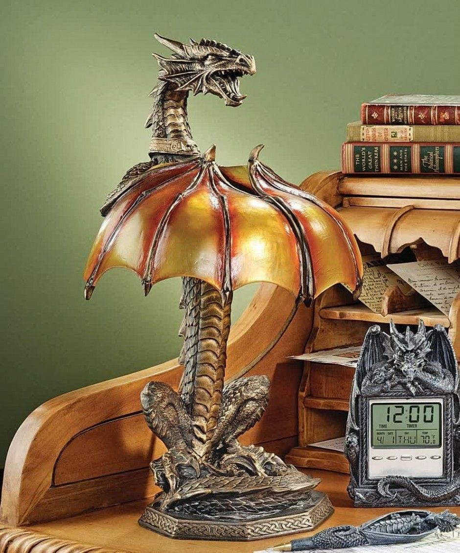 Furniture, Great Wooden Writing Desk With Small Bookshelf Idea Plus Unusual Table Lamp With Dragon Base Design Vintage Action Fancy Design Of Table Lamps With Golden Lamp Shade ~ Wonderful Light That Appear From Unusual Table Lamps