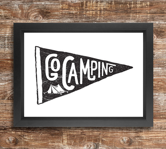 go camping a4 downloadable print black and by thecabinsupplyco