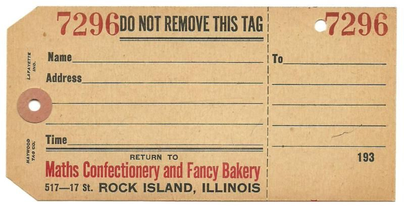 Rock Island IL Maths Bakery Shipping Tag 1930s