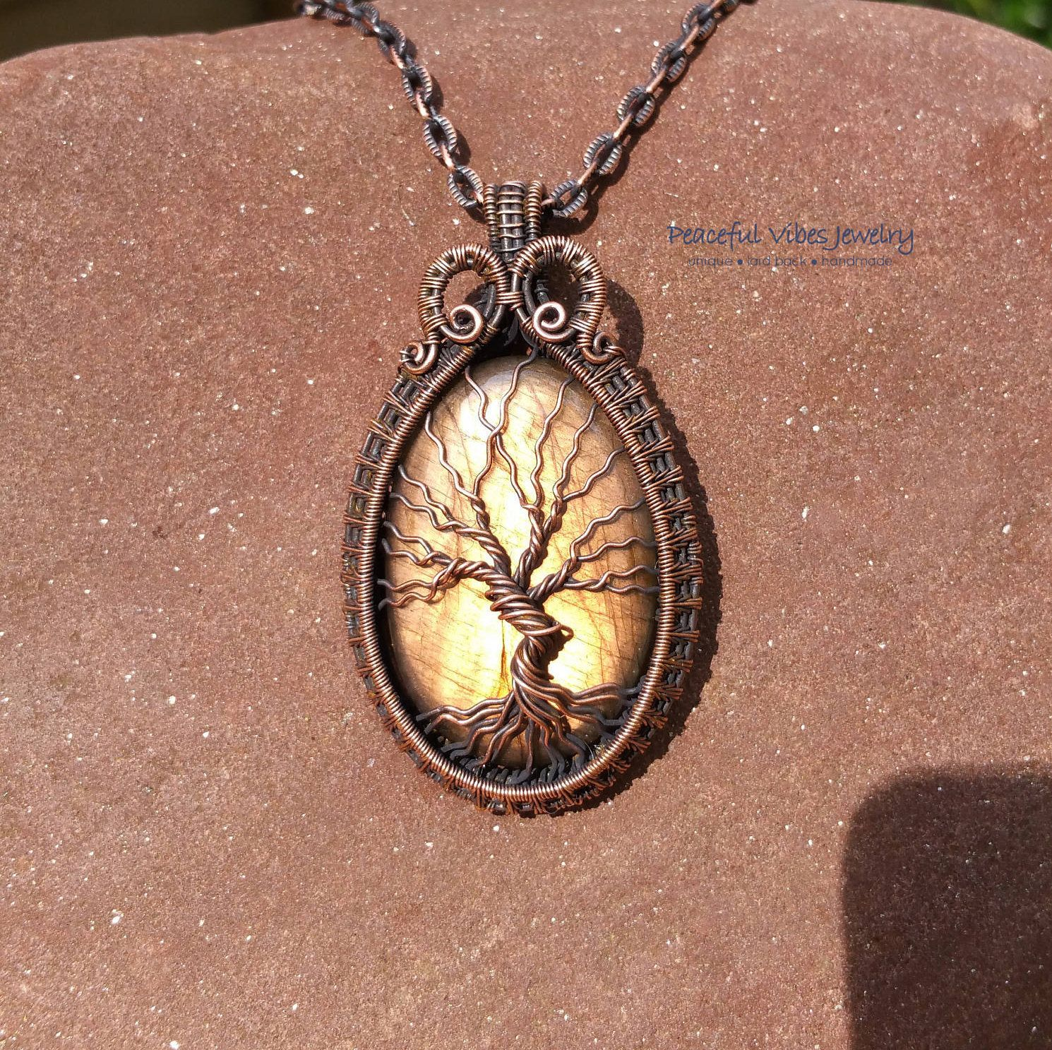 Labradorite Necklace Wire Wrapped Tree Of Life Pendant Handmade Wire ...
