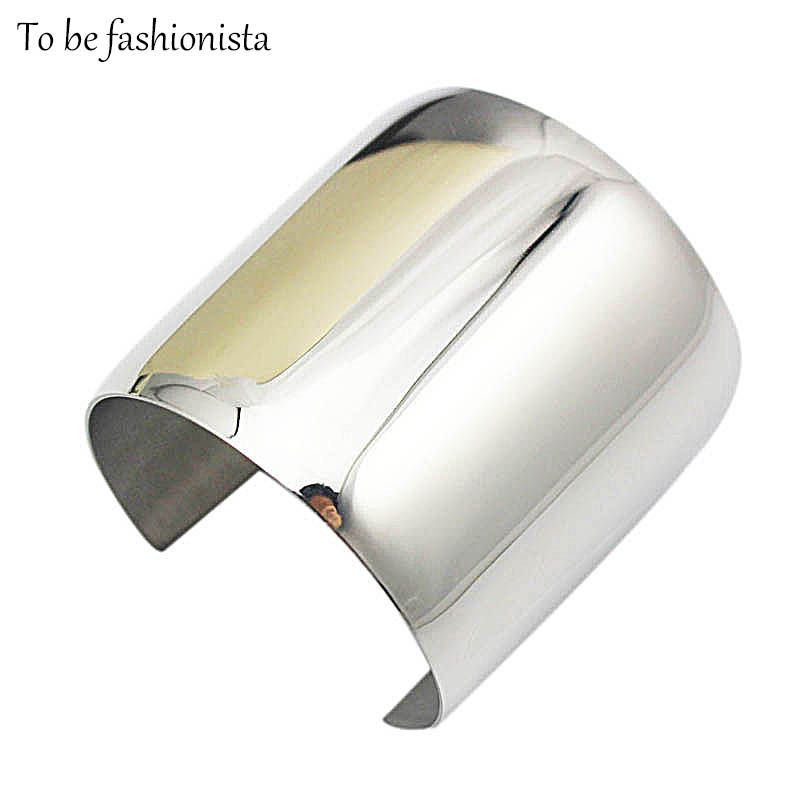 Fashion long Personality exaggerated big cuff Bangle bracelet Unique shiny silver stainless steel Bling hand jewelry for women