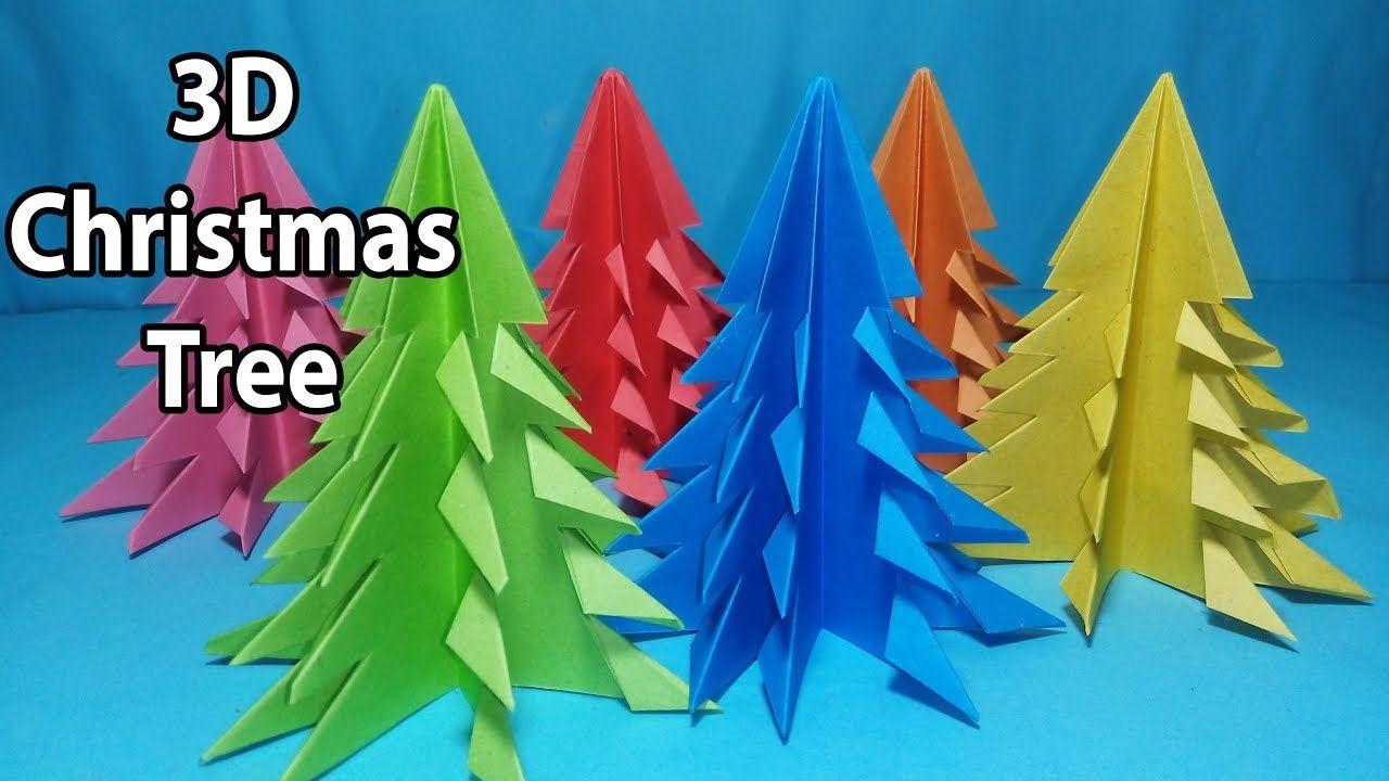 How To Make 3d Paper Christmas Tree Xmas Tree Diy Tutorial Art And