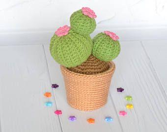 Crochet cactus, Amigurumi cactus, Knit cacti in pot, Stuffed cactus, Artificial cactus, Amigurumi succulent, Knit plant, Planter desk gift.