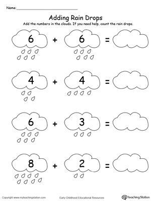 Adding Numbers With Rain Drops Up to 12 | Kindergarten math, Rain ...