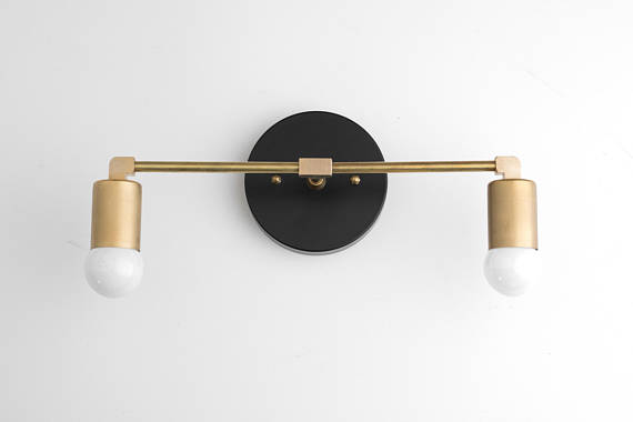 Photo of Vanity Light Fixture – Bathroom Sconce – Vanity Lighting – Brass Black Vanity – Mid Century Modern – Contemporary Lighting – Model No. 8412