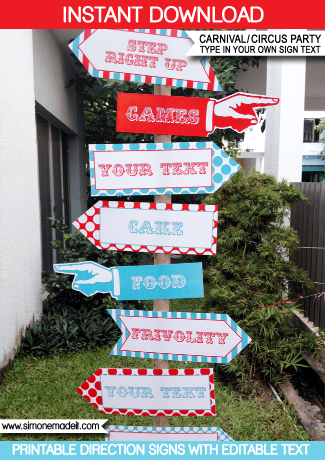 Red Aqua Printable Carnival Signs Direction Arrows Circus Birthday Party Editable Diy Template Via Simonemadeit