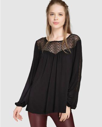 0feea90508 Blusa de mujer Vero Moda en color negro con canesú transparente ...