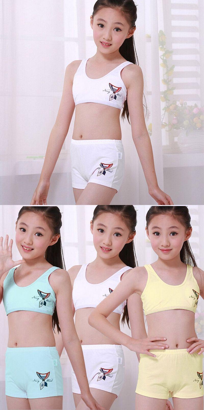 ebd39233fd Children Underwear Set Kids Puberty Young girl student Bras 100% cotton underwear  set with bra