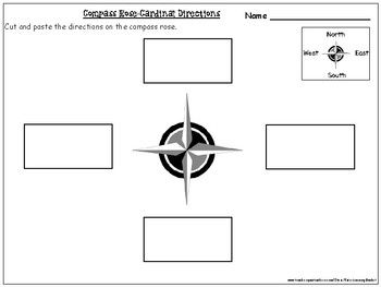compass rose cardinal directions cut and paste activity worksheets mapping cardinal. Black Bedroom Furniture Sets. Home Design Ideas