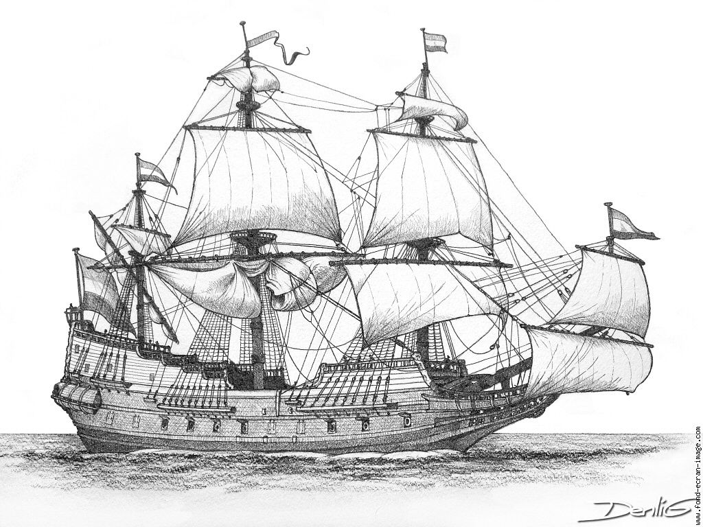 Drawing of the dutch ship batavia which was wrecked off - Voile bateau pirate ...