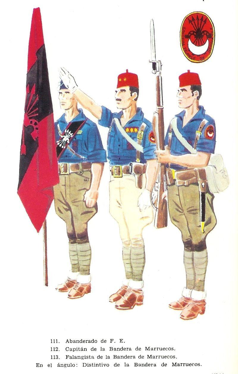 Spanish;Nationalists - Moroccan Falangists. Standard bearer, Captain ...
