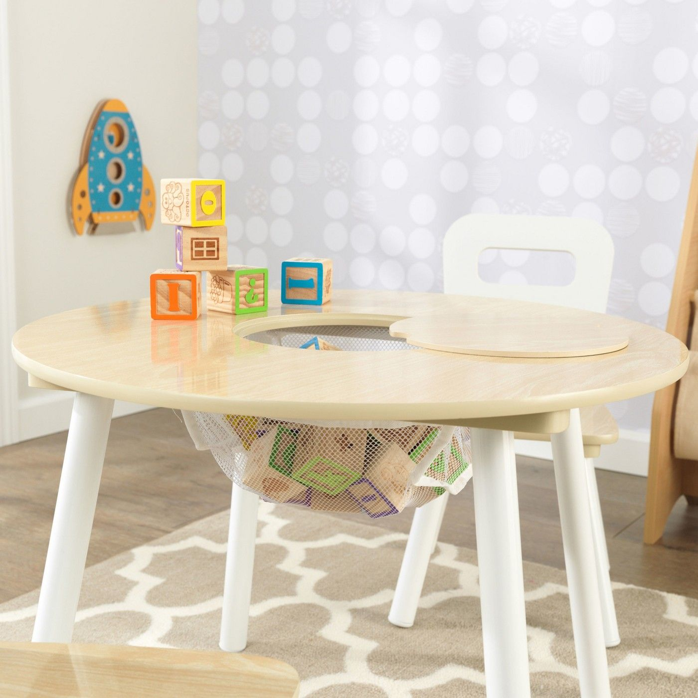 Round Table And Chair White Natural Set Of 2 Kidkraft Image 2 Of 5 Round Table And Chairs Kids Table Chair Set Table And Chair Sets