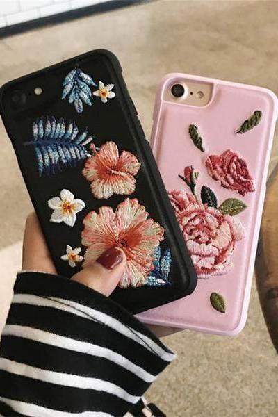 Fashion Flower Embroidery Iphone 6 6s 6plus 6splus 7 7 Plus Phone Cover Case Phone Cases Case Iphone Cases Apps iphone iphone plus flowers