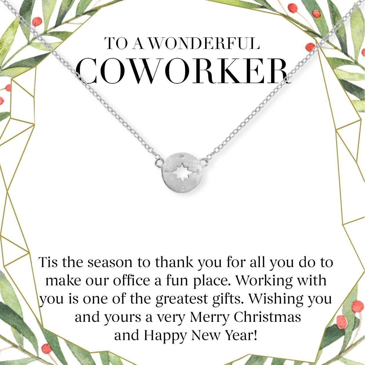 Christmas Gift for Coworker: Best Present, Necklace, Jewelry, Holiday, Gift Idea, Office Gift Exchange, Secret Santa, Colleague, Multiple Necklace Styles, Compass / Silver #secretsantaideasforwork Christmas Gift for Coworker: Best Present, Necklace, Jewelry, Holiday, Gift Idea, Office Gift Exchange, Secret Santa, Colleague, Multiple Necklace Styles, Compass / Silver