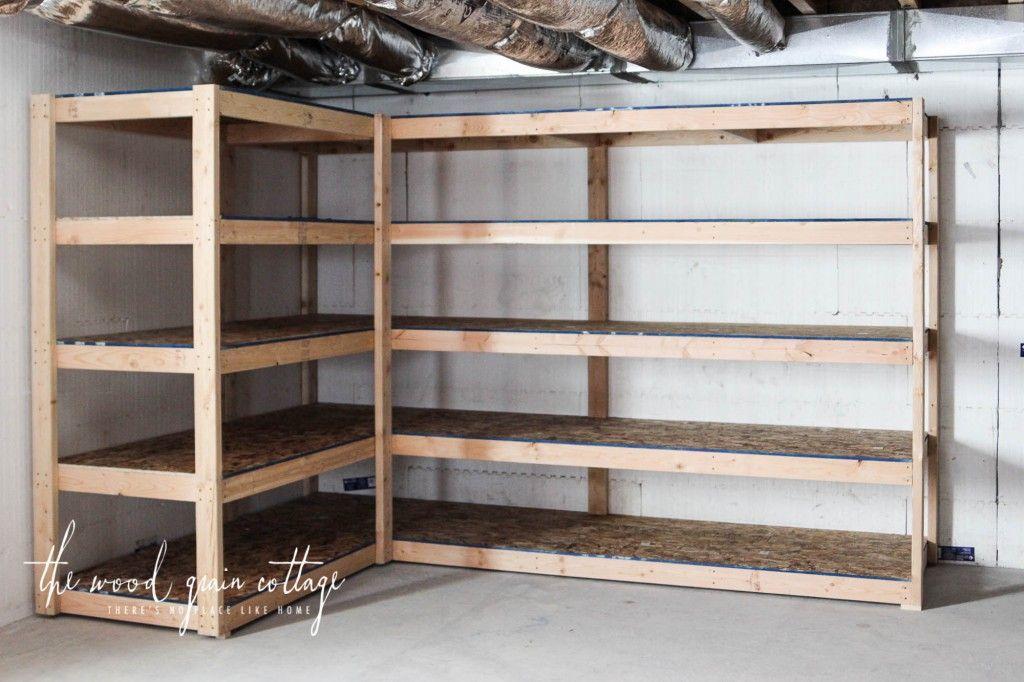 DIY Basement Shelving Basement shelving, Garage storage
