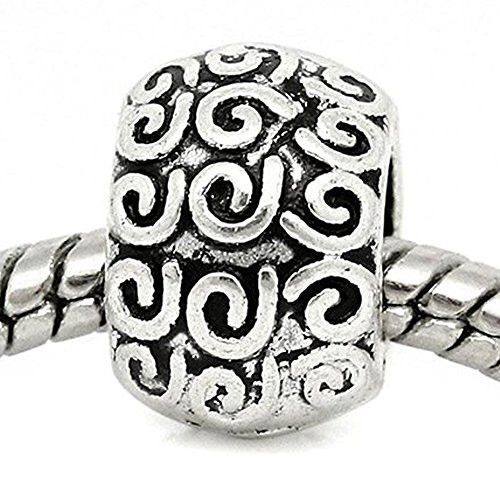 Swirl Pattern Carved on European Bead Compatible for Most European Snake Chain Charm Braceletss